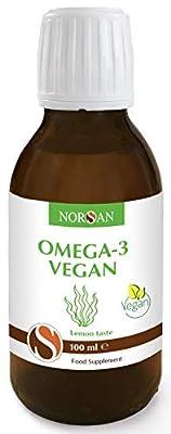 Omega-3 Oil Vegan, Vegetable Algae Oil, Pleasant Taste, Very High in EPA and DHA, 100ml by Norsan, English Label
