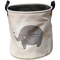 JIALI - Cubo de Almacenamiento de Ropa Sucia con diseño de Animales, de algodón y