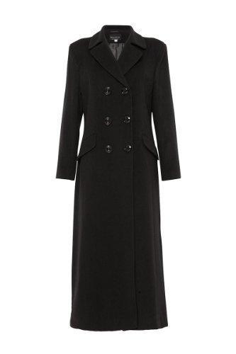 La creme - donna da donna invernali lana e cashmere a doppio petto aderente cappotto lungo - lana, nero, 20% poliestere 5% cashmere 100% poliestere 75% lana, donna, 43.5 eu
