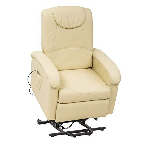 MilaniHome Poltrona Relax Elettrica Reclinabile Confort Imbottita Beige per Interno Salotto per Anziani