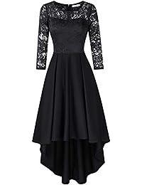KOJOOIN Damen Brautjungfernkleider für Hochzeit Cocktail Abendkleider Unregelmässiges Kurzes Spitzenkleid (Verpackung MEHRWEG)