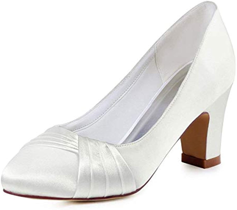 ZHRUI Ladies Knot Chunky Med Heel Slip-on Avorio Satin Wedding Evening Pumps UK 5 (Coloreee   -, Dimensione   -) | Ultima Tecnologia  | Maschio/Ragazze Scarpa