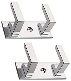KKD Stainless Steel Glossy 2 Pin Cloth Hanger Wall Door Hooks Rail for Hanging Clothes, Towel Hook   Pronged Hook Rail…
