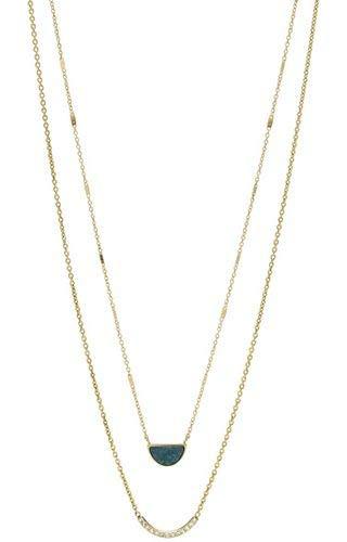 Fossil Damen-Strang-Halskette Edelstahl zirkonia JF02947710