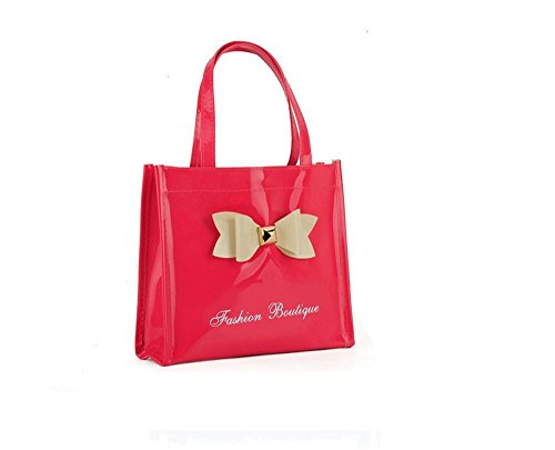 gossip-girl-ladies-mini-medium-patent-glossy-shopper-tote-lunch-bag-with-bow-mini-red-ii