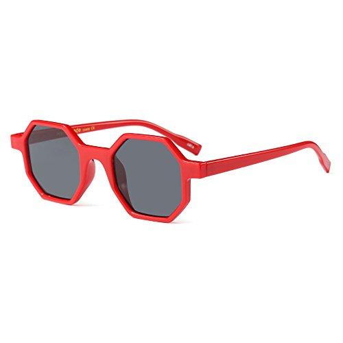Burenqi@ Kleines Hexagon Sonnenbrille Frauen neue Marke Quadrat Sonne Brille weibliche Moderne Brillen Unisex Brillen, C