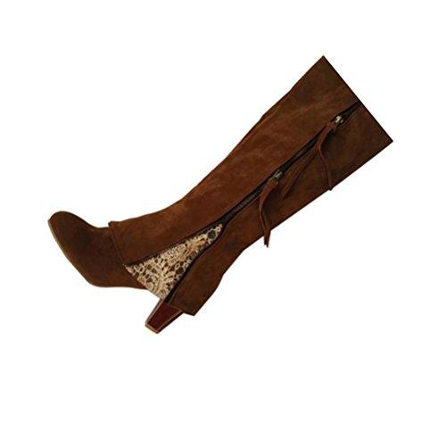 QPYC Stivali tacco alto con tacco vertiginoso in pelle con cerniera e nappa con le scarpe da donna di grandi dimensioni brown