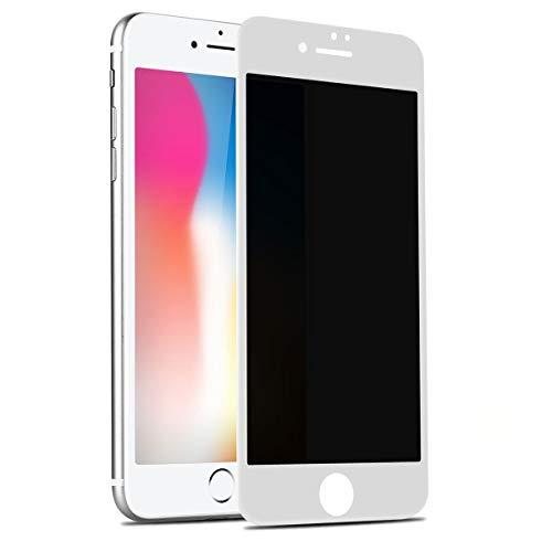 Panzerglas Sichtschutzfolie für iPhone 7/8, Anti Spy 3D Full Cover Weiche Kante Displayschutzfolie für iPhone 8/7 Dunkel Folie, Privatsphäre schützen Blickschutzfolie Folie für iPhone 8/7 - Weiß