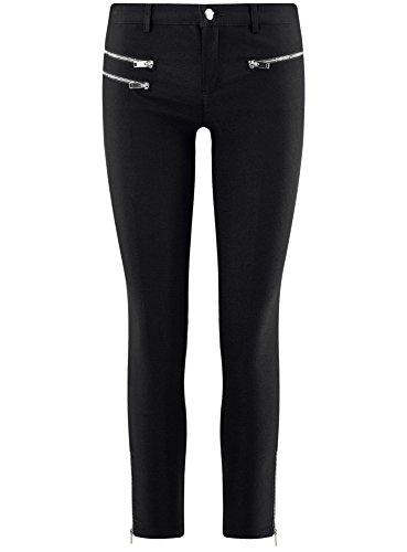 oodji Ultra Damen Hose aus Viskose mit Zierreißverschlüssen Schwarz (2900N)