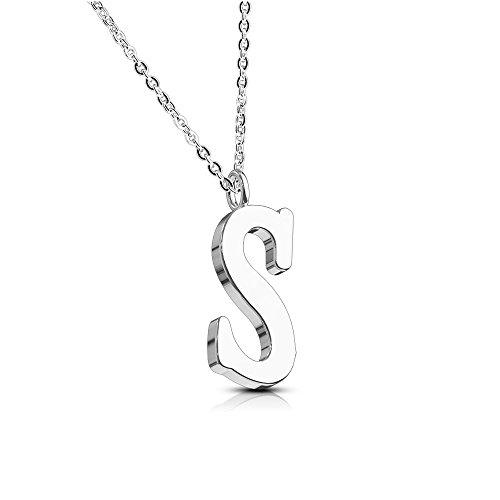 Bungsa Buchstabe S Halskette Silber - Buchstaben-ANHÄNGER S Kette in Rosegold - Alphabet Kette für Frauen & Männer - aus Edelstahl - Schmuck für Jungen & Mädchen