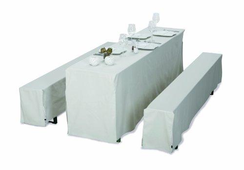 Best 90831251 Lot de 3 housses de fête pour bancs et table Largeur 50 cm Blanc crème