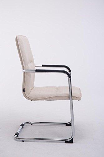 CLP Freischwinger-Stuhl mit Armlehne SEATTLE Stoff, Besucherstuhl, Konferenzstuhl gepolstert, Metall Creme - 2