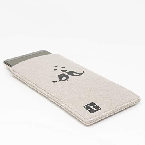 MyCrazyCover Filz Hülle Handysocke Handyschutz Schutzhülle Handytasche Handyhülle Filztasche Filzhülle kompatibel mit Huawei iPhone Samsung HTC Xiaomi LG OnePlus Sony Beige/Schwarz M Vögel