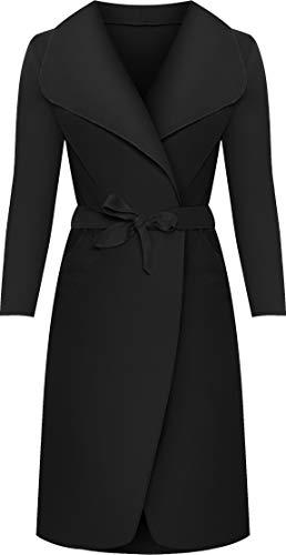 WearAll - Lange Gürtel Taschen öffnen Coat Damen Promi Wasserfall Jacke Cape - Schwarz - Eine Größe