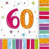 Amscan Geburtstags-Servietten 60 Jahre, 16 Stück