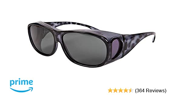 4e8d51da990 Overglasses Fit Over Sunglasses Wear Over Your Prescription Glasses  Polarised UV400 wrap Around Black Demi Grey Lens Category 3  Amazon.co.uk   Health ...