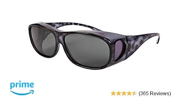 85721d230930 Overglasses Fit Over Sunglasses Wear Over Your Prescription Glasses  Polarised UV400 wrap Around Black Demi Grey Lens Category 3  Amazon.co.uk   Health ...