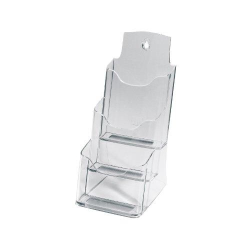 Sigel LH133 Tisch-Prospekthalter / Prospektständer / Flyerhalter aus Acryl mit 3 Fächern, DIN lang/A6, transparent - weitere Größen