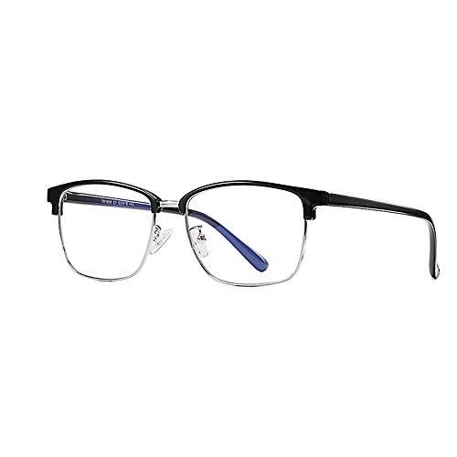Zero Strength Lens Computer Brille Schwarz Front Metall Tempel Anti-Blendung Anti Reflektierende Blaulicht UV Blockieren Unverkennbare Linse Damen Herren Spielbrille-2