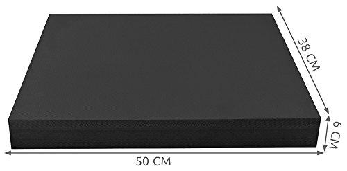 Iso Trade Balance Board Schaumstoff Pad Wackelkissen Schwarz 50x38x6cm rutschfest Angenehm 4079, Farbe:Schwarz
