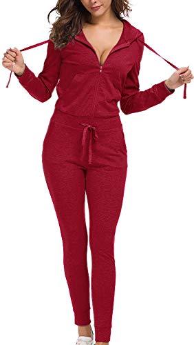 Top-Vigor Damen Trainingsanzüge 2-teilig Velours Hoodies und Hosen Set Sweatsuits Volltonfarbe -