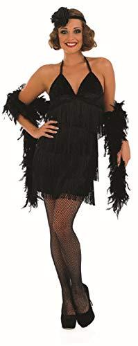Fancy Me Damen Sexy Schwarz 1920s Jahre Flapper Mädchen Kostüm Verkleidung Outfit UK 8-22 Übergröße - Schwarz, UK 16-18 (Sexy Schwarzes Flapper Kostüm Für Erwachsene)