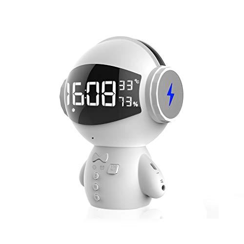 MJOLG Bluetooth Audio Roboter Wecker Digital Funkuhr Funkwecker Wecker Kinder Erwachsener Schlafzimmer,Mit Handy Ladefunktion,White