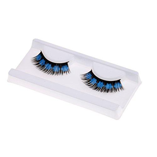 1 Paire Faux-cils Long Coloré avec Imprimé Petits Fleurs pour Soirée Déguisement de Halloween - Noir + Bleu, 14mm