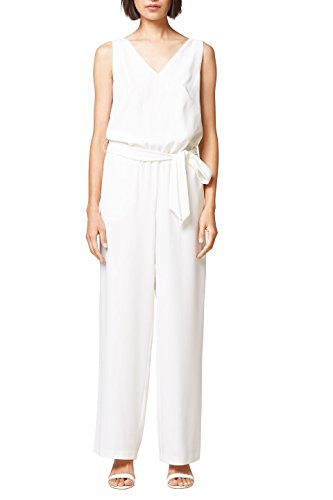 ESPRIT Collection Damen Jumpsuit 068EO1L007, Weiß (Off White 110), 36
