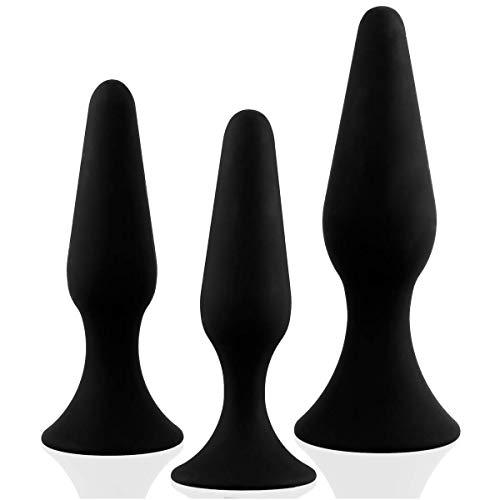 marielove Analplug Set 3 Stück (11,5cm+12,5cm+15,5cm) Wasserdichter Analstöpsel | Schwarz | Buttplug Set für Männer und Frauen | Inkl. 30ml Gleitgel