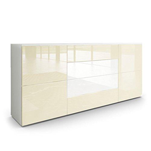 Vladon Sideboard Kommode Rova, Korpus in Weiß Matt/Fronten in Creme Hochglanz und Weiß Hochglanz - Creme Sideboard