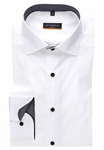 Eterna Long Sleeve Shirt Slim Fit Stretch Uni Bianco