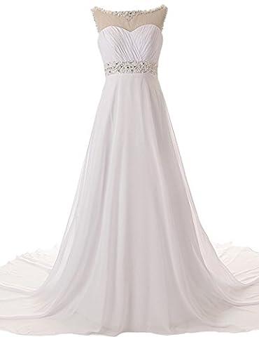 JAEDEN A-Linie Chiffon Brautkleider Schleppe Strand Hochzeitskleid Lang Wei? EUR52