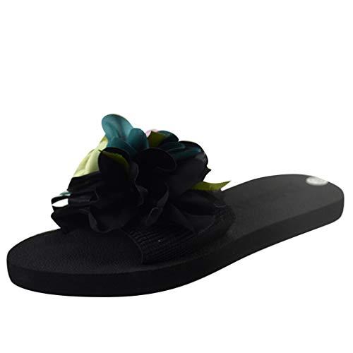 COZOCO Damen Freizeitschuhe Bohemian Flower Flache Hausschuhe Sommer Sandalen rutschfeste Strandschuhe(schwarz,40 EU)