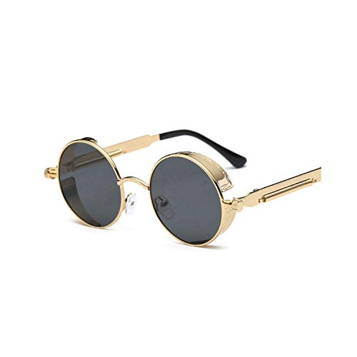 Sport-Sonnenbrillen, Vintage Sonnenbrillen, Cool Retro Gothic Steampunk Glasses WoMänner Männer Sunglasses Coating Mirrored Sunglasses Round Circle Gafas Oculos De Sol C