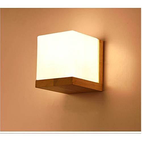 Wandleuchte Moderne minimalistische nordische Art LED Massivholz Wandleuchte Glas Schlafzimmer Nacht Wohnzimmer Hintergrundbeleuchtung für Indoor / Outdoor ( Farbe : Gelb , Größe : Free size ) -