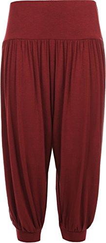 Donna Plus Dimensioni ritagliata harem pantaloni da donna 3/4tinta unita larghi pantaloni taglie 12–26 Wein
