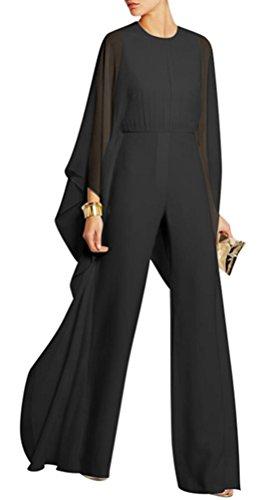 Foluton Damen Elegant Jumpsuit Overall Chiffon Fledermausärmeln Einteiler Clubwear Hohe Taille Weitem Bein Lang Hosenanzug Herbst Stillvoll Party Playsuit Festlich