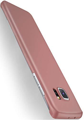 MoEx® Backcover [Ultra-Slim Design] passend für Samsung Galaxy S6 Edge | Stabile Hartschale mit optimalem Stoß- und Kratzschutz - Matt Metallic Rosé-Gold