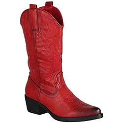 Elara Chunkyrayan - Botas de Vaquero para Mujer, Color Rojo, Talla 39 EU