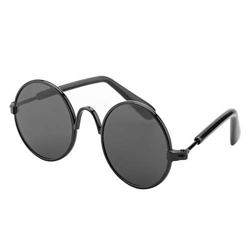 Qiterr Mode niedlich lustige Pet Sonnenbrille Foto Prop Mode-Kostüm für Katzen Hunde (Schwarzer Rahmen + Schwarzes Glas)