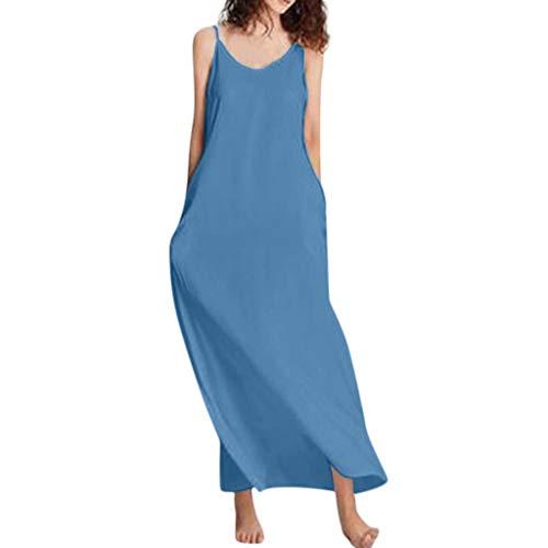 Vectry Damen Sommerkleid Lang Mode Blusenkleid Sommer Leinen Baumwolle Kleider Florydays Kleider Luftiges Kleid Leinenkleid Strandkleider Freizeitkleider Kaftan Kleid Kleid Blumen Marine 2XL -