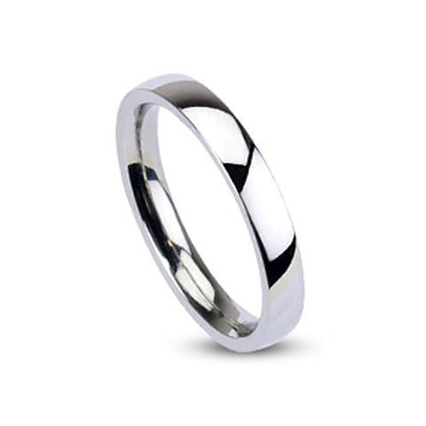 Tapsi´s Coolbodyart® Unisex Edelstahl Ring 3mm breit silber Klassischer Ehering hochglanz poliert 60 (19) - Anello Lucido