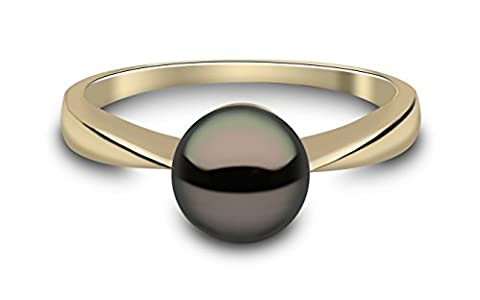 Kimura Pearls 9 ct Yellow Gold Black Semi Round Cultured Freshwater Pearl Ring - Size O