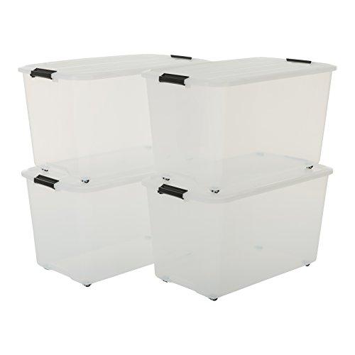 Iris Set von 4, Rollerbox 70 Liter, Rollbox mit Handel, Ordnungssystem, Rollenbox mit Deckel, Stapelbare Aufbewahrungsbox, Kunststoffbox-70 Liter, Plastik, Transparent, 4 x 70 L