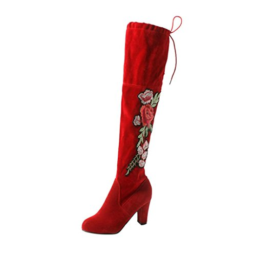 Damen Soign Stiefel, Sunday Frauen Rose Sticken Oberschenkel Hohe Overknee Stiefel Flock High Heels Schuhe Unterhaltung Freizeit Fete Arbeit Hochzeit Stiefel (Rot, 42 EU)