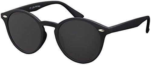 La Optica Verspiegelte UV 400 Runde Damen Herren Retro Sonnenbrille - Einzelpack Rubber Schwarz (Polarisierte Gläser: Grau)