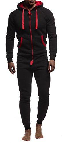 LEIF NELSON Herren Overall Jumpsuit Onesie Trainingsanzug Jogginghose Trainings T-Shirt Fitness Stringer Bekleidung LN8154; Größe L; Schwarz-Rot
