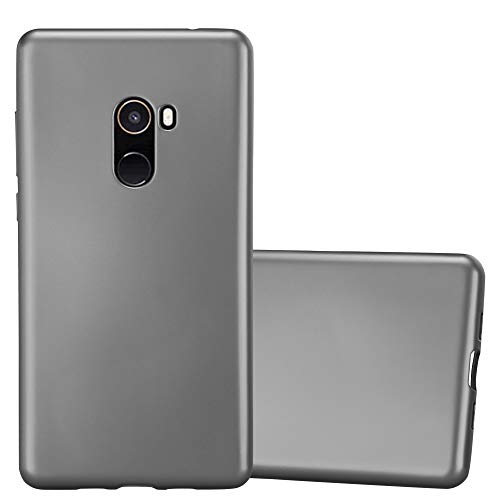 Cadorabo Funda para Xiaomi Mi Mix 2 en Metallic Gris - Cubierta Proteccíon de Silicona TPU Delgada e Flexible con Antichoque - Gel Case Cover Carcasa Ligera