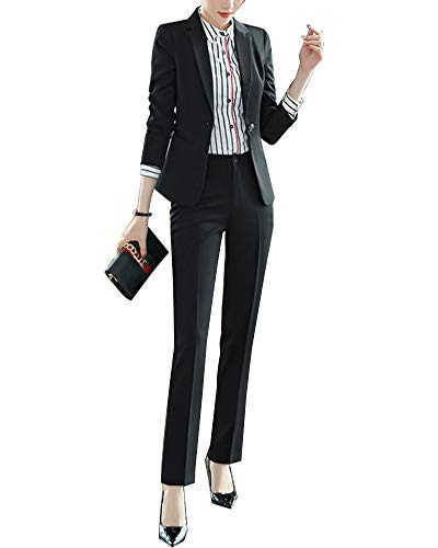 Completo Donne Slim Fit Elegante Ufficio Business Giacca Tuta Blazer Gonna E Top Nero 2 S